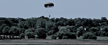 US Airforce. Paratroopers fly-over at Normandy 2015 memorial stock photo