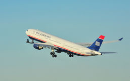 US Airways Airbus A330. Taking off from Manchester Airport stock photos