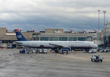 US Airways Airbus 321 at Boston Airport Royalty Free Stock Photos