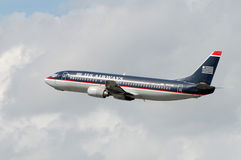 US airways Boeing 737 jet in flight Royalty Free Stock Image