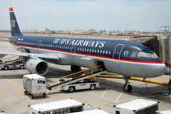 US Airways boeing airplane on San Jose airport Royalty Free Stock Images