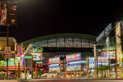 US Airways and Chase Field at night in Phoenix, AZ Stock Images