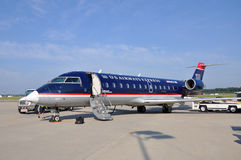 US Airways CRJ 200 at Newport News airport. US Airways Express Bombardier CRJ (Canadair Regional Jet) 200 at Newport News Williamsburg International stock photography