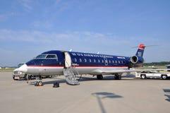 US Airways CRJ 200 at Newport News airport. US Airways Express Bombardier CRJ (Canadair Regional Jet) 200 at Newport News Williamsburg International Stock Photography