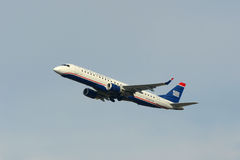 US Airways Embraer 190 at Boston Airport Royalty Free Stock Photos