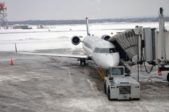 US Airways Express catering at airport. A US Airways Express catering in Snow Storm weather, Syracuse, New York State Stock Photography