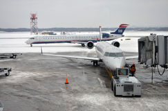 US Airways Express catering at airport. A US Airways Express catering in Snow Storm weather, Syracuse, New York State Stock Photo