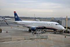 US Airways Embraer 175 at Washington DC airport. US Airways Embraer 175 at Ronald Reagan Washington National Airport (DCA) in Washington DC, USA Stock Photo