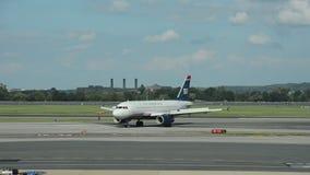 US Airways jet airplane. Washington DC, USA - February 12, 2014: US Airways passenger jet arrives at its home base in Washington DC stock video