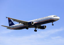 US Airways. Los Angeles, USA - May 30, 2015: An airplane of US Airways (Airbus A321) landing at Los Angeles International Airport Stock Photo