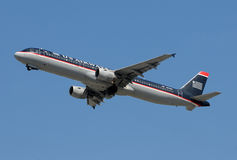 US Airways passenger jet taking off Stock Photo