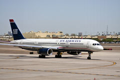 US Airways plane at airport tarmac Stock Photography
