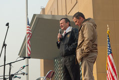 US Ambassador to Afghanistan and Lance. Karl W. Eikenberry, Ambassador, Kabul Afghanistan and Lance Armstrong with troops at the US Embassy Kabul during a USO Stock Photography