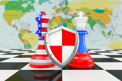 US America and Russia Flags on Kings Chess with Protective shiel vector illustration