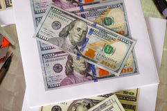 Us american dollar money bills printed spread around Royalty Free Stock Photo