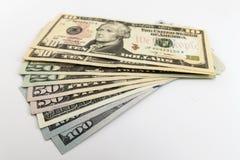 US american dollar money bills spread on white background Stock Photo