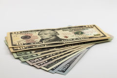 US american dollar money bills spread on white background Stock Image