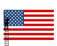 US American Flag, man puts a star - illustration. On white background royalty free illustration