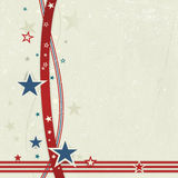 USA patriotic background in red, blue and off white. US American flag themed background, or card with wavy lines and stars in red and blue forming a patriotic vector illustration