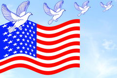 Us or American flag waving in blue sky with dove birds Stock Image