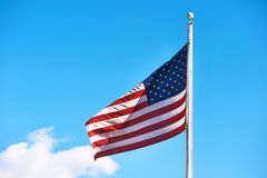 US American flag waving in the wind Royalty Free Stock Photos