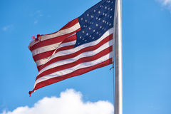 US American flag waving in the wind Royalty Free Stock Images
