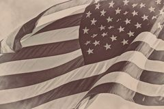 US American patriotic flag sepia retro vintage background Royalty Free Stock Photo