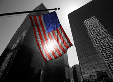 US american symbol flag over Black and white modern LA stock photo