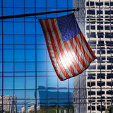 US american symbol flag over blue modern LA buildings Stock Photo