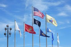 US Armed Forces Flags. Flags of the United States, New Jersey and the US armed forces, in Atlantic City Royalty Free Stock Image