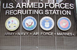 US armed forces recruiting station. On Times Square New York City Royalty Free Stock Photography