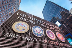 US armed forces recruiting station on Times Square New York City. Stock Images