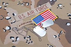 US ARMY airborne tab with blank dog tags Stock Image