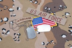 US ARMY airborne tab with blank dog tags Royalty Free Stock Image