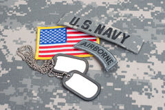 US ARMY airborne tab with blank dog tags Royalty Free Stock Images