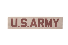 Us army army desert camouflage uniform name badge. Us army army desert camouflage uniform badge Stock Photography