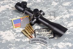 US ARMY background concept sniper with scope and insignia. US ARMY background concept - sniper with scope and insignia Royalty Free Stock Photo