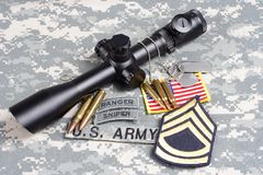 US ARMY background concept sniper with scope and insignia Stock Photography