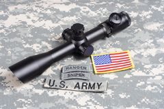 US ARMY background concept  sniper with scope and insignia Royalty Free Stock Photos