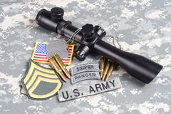 US ARMY background concept sniper with scope and insignia Royalty Free Stock Image