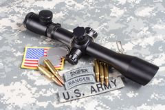 US ARMY background concept sniper with scope and insignia Royalty Free Stock Photography