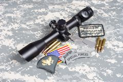 US ARMY background concept sniper with scope and insignia Stock Photo