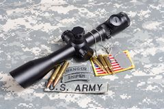 US ARMY background concept sniper with scope and insignia Royalty Free Stock Photo