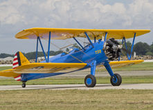 US Army Bi Plane Fighter on runway Stock Photo