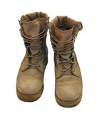 US Army boots. With desert camouflage, that were used in Afghanistan royalty free stock photography