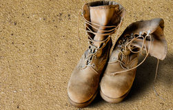 US Army boots on sand Royalty Free Stock Image