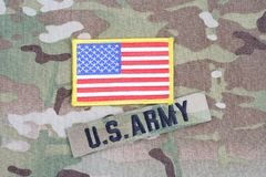 2015. US ARMY branch tape with flag patch on uniform Stock Photos