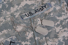 Us army camouflaged uniform with blank dog tags Royalty Free Stock Photography