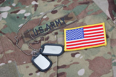Us army camouflaged uniform with US flag patch Royalty Free Stock Image