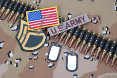US ARMY concept on camouflage uniform Royalty Free Stock Photo
